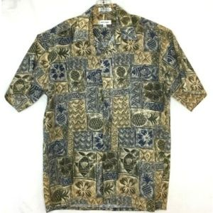 Pierre Cardin Brown Blue Hawaiian Camp Shirt Med